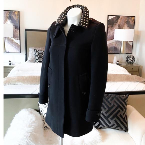 Burberry Brit Black Wool Studded Collar Coat sz 2